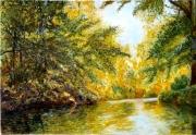 tableau paysages automne reflets arbres : lueurs jaunes