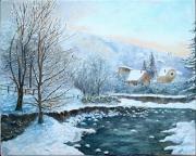 tableau paysages neige ariege pyrenees hiver : L'Oriège