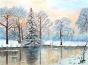 tableau paysages neige hiver etang acigne : L'étang en hiver