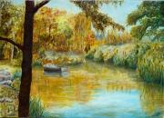 tableau paysages autmne riviere barque : Fin d'été