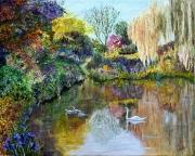 tableau paysages eau cygne etang : L'étang aux cygnes