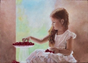 tableau personnages fillette scene de vie cerises peinture : H2