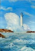 tableau marine phare mer tempete vagues : Phare sous le vent