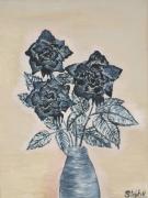 tableau nature morte rose noire fleurs en pot : nature morte