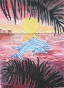 tableau animaux dauphins couche de soleil : la danse des dauphins