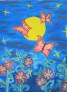tableau papillon fleur nuitee : nuit paisible