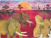 tableau animaux elephant couche de soleil africain : savane