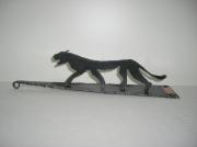 sculpture animaux decor animal jungle acier : Jaguar en acier brossé
