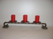 deco design scene de genre bougie support luminaire : 3 bougeoirs en acier brossé