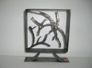 sculpture abstrait contemporain acier art deco metal : l'oiseau sur la branche