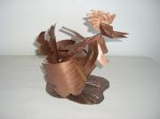 artisanat dart animaux cuivre deco art : Poule en cuivre