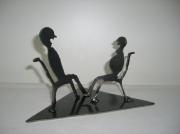 sculpture scene de genre enfant couple metal deco : Attente de bébé en acier