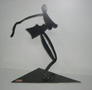 sculpture personnages nu art contemporain deco metal : Femme nue en acier brossé