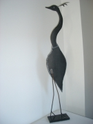 sculpture animaux sculpture zinc deco animal : grue couronnée en zinc