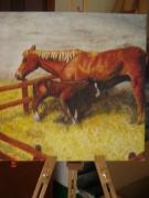 painting cheval jument poulain : Premiers pas
