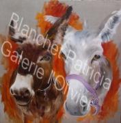 tableau animaux ane trompe l oeil peinture huile : Anes