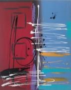 tableau abstrait bleu rouge musique : Ma symphonie