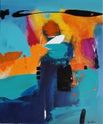 tableau abstrait : Bleuets des champs