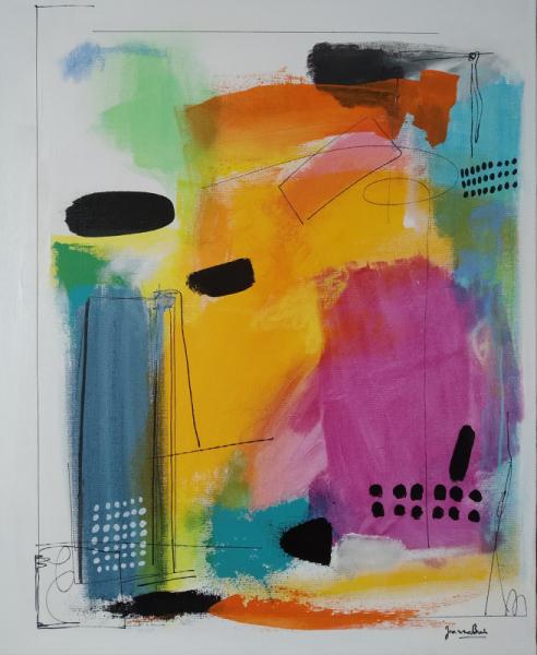 TABLEAU PEINTURE Abstrait Acrylique  - Composition en 4 temps