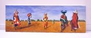 tableau scene de genre afrique femme paysage acrylique : Femmes africaines