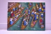 tableau scene de genre scene personnage acrylique thailande : THAILANDE Le marché flottant