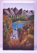 tableau architecture architecture chateau acrylique paysage : Le château de Neuschwanstein