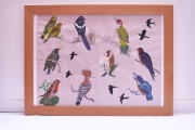 tableau animaux oiseaux acrylique : Les oiseaux