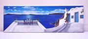tableau paysages santorin paysage volcan acrylique : Santorin