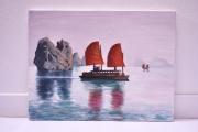 tableau paysages vietnam bateua acrylique : La baie d'Along