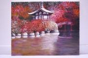 tableau paysages peinture acrylique paysage japon : FEERIE JAPONAISE