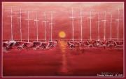 tableau marine voiliers soleil ,p soleil rouge : coucher de soleil sur le port