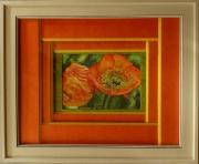 tableau fleurs pavots deux pavots fleurs orange : Les deux pavots