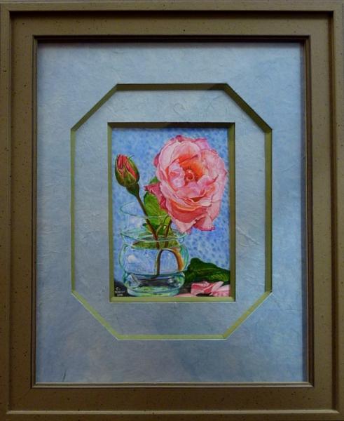 TABLEAU PEINTURE bouquet de roses rose roses en fleurs Fleurs Aquarelle  - La rose et son bouton