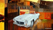 tableau automobile cabriolet 190 sl mercedes vintage : L'ATELIER DE RESTAURATION