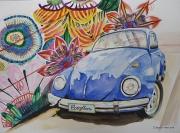 tableau sport automobile volkswagen coccinelle bleu : COXYBLU