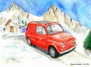 """tableau paysages voiture fiat 500 fiat rouge furgoncino : """"Fiat 500 dans les Dolomites"""""""