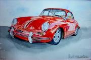 tableau sport automobile de collec porsche 356 ,c vintage : PORSCHE 356 C