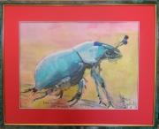 tableau animaux aquarelle animal peinture art : Petit scarabée