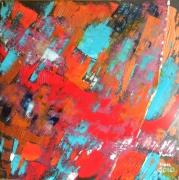 tableau abstrait abstrait peinture couleurs huile : Variation sur le portrait chinois