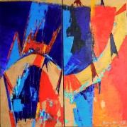 tableau abstrait expressionisme art peinture : lA VIE N4EST PAS UN FLEUVE TRANQUILLE