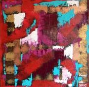tableau abstrait abstrait rouge or turquoise peinture art : En mon coeur aujourd'hui