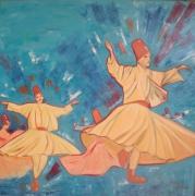 tableau personnages figuratif huile peinture art : La danse des derviches