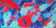 tableau abstrait acrylique abstrait couteau peinture : Danscet esprit de feu du bleu