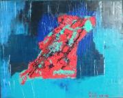 tableau abstrait abstrait huile peinture art : Comme un poisson dans un lagon