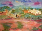 tableau paysages aquarelle paysage peinture art : Le jardin de l'amitié