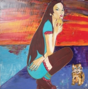 tableau personnages figuratif lolita huile peinture : Lolita au soleil couchant
