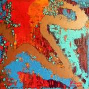 tableau abstrait abstrait huile peinture art : Dans l'antre du dragon : la passion