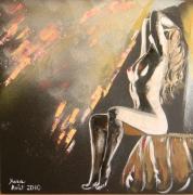 tableau nus figuratif nu huile peinture : Full moon