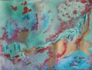 tableau abstrait aquarelle abstrait peinture art : Combat