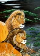 tableau animaux : la lune des lions
